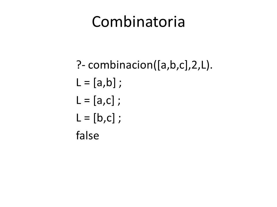 Combinatoria - combinacion([a,b,c],2,L). L = [a,b] ; L = [a,c] ;
